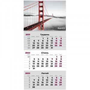 Календарь 2022 квартальный, настенный перекидной, на 1 пружину Axent Мост (8801-01-a)