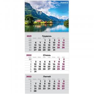 Календарь 2022 квартальный, настенный перекидной, на 1 пружину Axent Норвегия (8801-03-a)