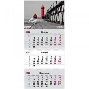 Календарь 2022 квартальный, настенный перекидной, на 3 пружину Axent Маяк (8803-01-a)