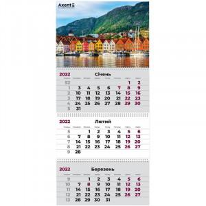 Календарь 2022 квартальный, настенный перекидной, на 3 пружину Axent Город (8803-03-a)