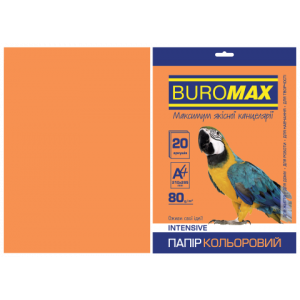 Бумага цветная А4 80 г/м кв BUROMAX 20 л INTENSIVE оранж. (BM.2721320-11)