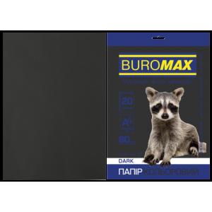 Бумага цветная А4 80 г/м кв BUROMAX 20 л DARK черная (BM.2721420-01)