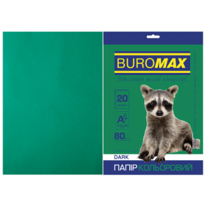 Бумага цветная А4 80 г/м кв BUROMAX 20 л DARK темно-зеленая (BM.2721420-04)