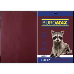 Бумага цветная А4 80 г/м кв BUROMAX 20 л DARK коричневая (BM.2721420-25)