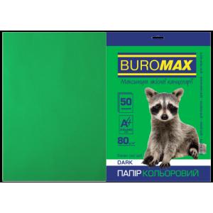 Бумага цветная А4 80 г/м кв BUROMAX 50 л DARK темно-зеленая (BM.2721450-04)