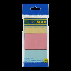 Блок стикеров 38 х 51 мм 300 шт BuroMax, 3 цвета ассорти (BM.2319-99)